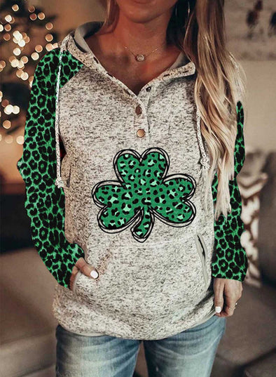 Green Women's Hoodies Casual Leopard Color Block Button Drawstring Long Sleeve Pocket Hoodies LC2537146-9
