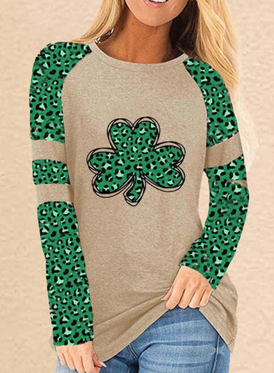 Khaki Women's T-shirts Leopard Saint Patrick's Day Print Long Sleeve Round Neck Daily T-shirt LC2516134-16