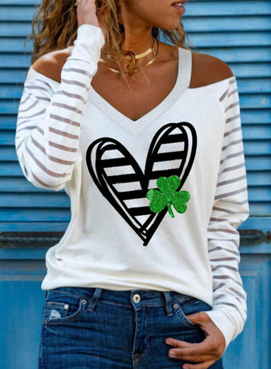 White Women's Pullovers Off Shoulder Heart-shaped Color Block V Neck Long Sleeve Casual Sexy Pullovers LC2516163-1
