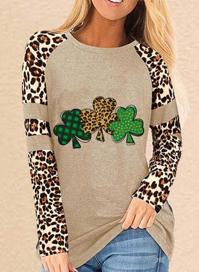 Khaki Women's Tunic Tops Casual Color Block Clover Leopard Round Neck Long Sleeve Daily Tops LC2516179-16