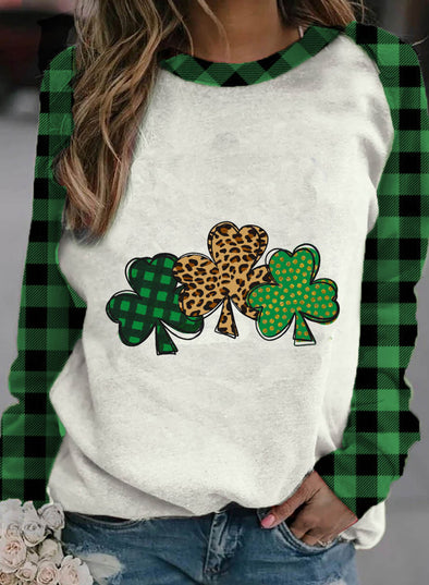 Green Women's Pullovers Casual Plaid Clover Color Block Round Neck Long Sleeve Daily Pullovers LC2516182-9