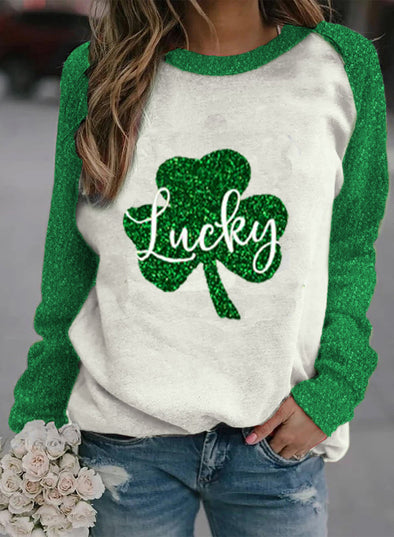 Green Women's Pullovers Casual Sequin Clover Color Block Round Neck Long Sleeve Daily Pullovers LC2516184-9