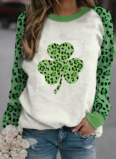 Green Women's T-shirts Saint Patrick's Day Leopard Letter Long Sleeve Round Neck Daily T-shirt LC2516081-9