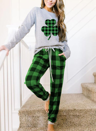 Green Women's Loungewear Sets Long Sleeve Plaid Saint Patrick's Day Casual 2-Piece Loungewear Set LC4511261-9