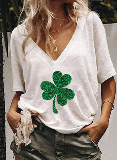 White Women's T-shirts Saint Patrick's Day Letter Short Sleeve V Neck Casual T-shirt LC2523286-1