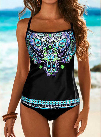 Sky Blue Women's Tankinis Suit Tribal Padded Mid Waist Square Neck Sleeveless Unadjustable Wire-free Casual Beach Suit LC412431-4