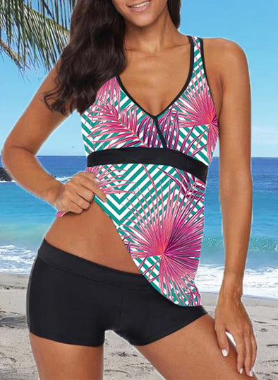 Multicolor Women's Tankinis Suit Floral Padded Mid Waist V Neck Sleeveless Unadjustable Wire-free Sexy Beach Suit LC412532-22
