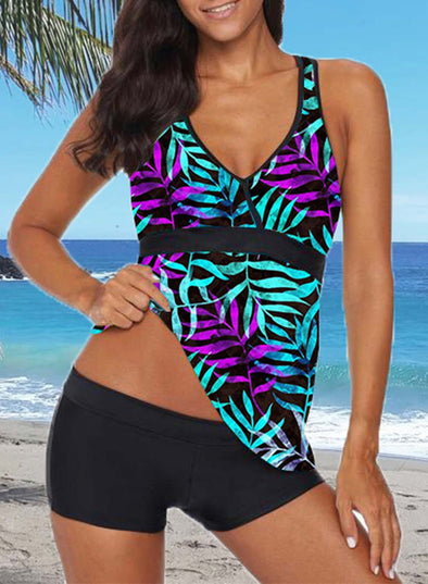 Multicolor Women's Tankinis Suit Color Block Padded Mid Waist V Neck Sleeveless Unadjustable Wire-free Sexy Beach Suit LC412534-22