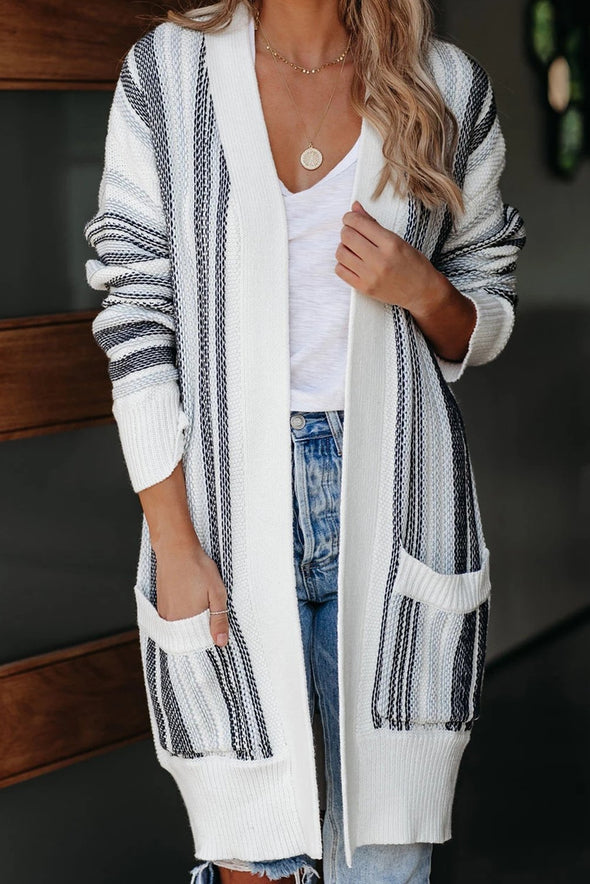 Women's Cardigans Pocketed Cotton Blend Cardigan