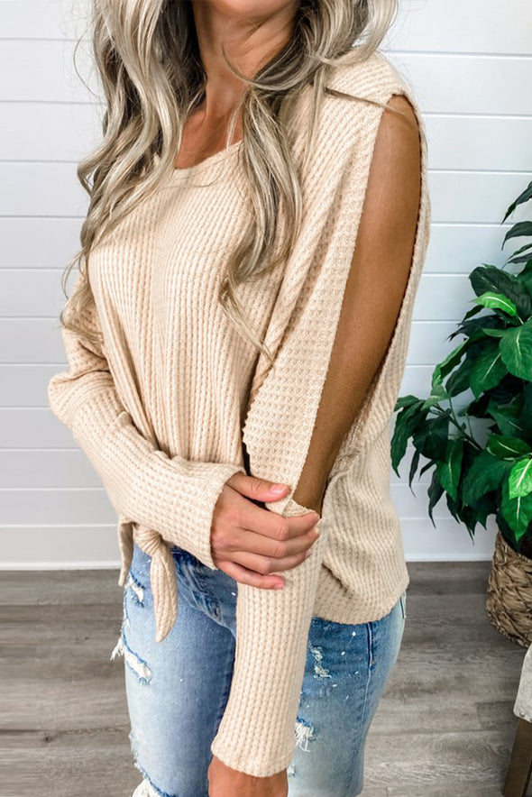 Waffle Knit Front Tie Cold Shoulder Long Sleeve Top