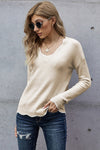 Beige Wavy V-neck Sweater