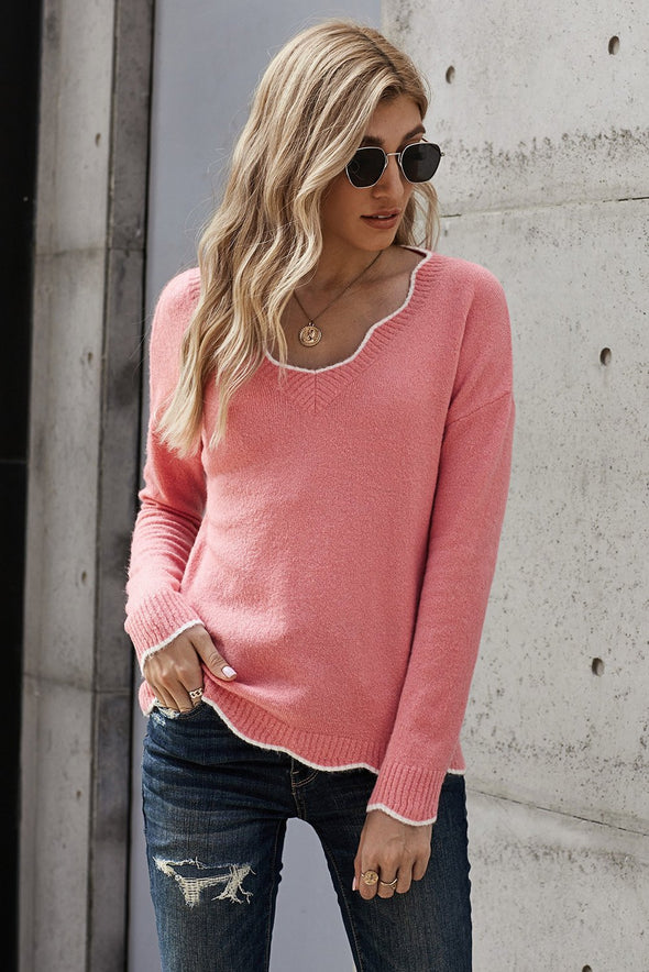 Women's Sweaters Wavy V-neck Solid Color Sweaters