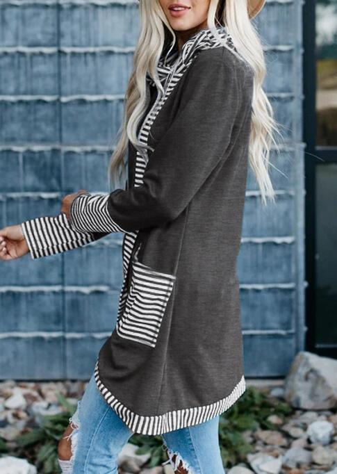 Striped Splicing Asymmetric Pocket Blouse - Gray