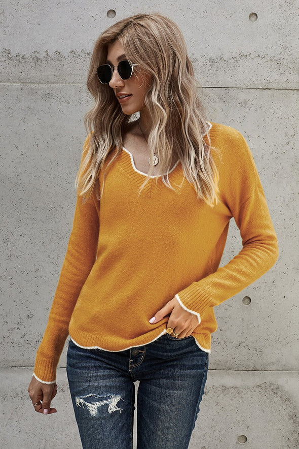 Yellow Wavy V-neck Sweater