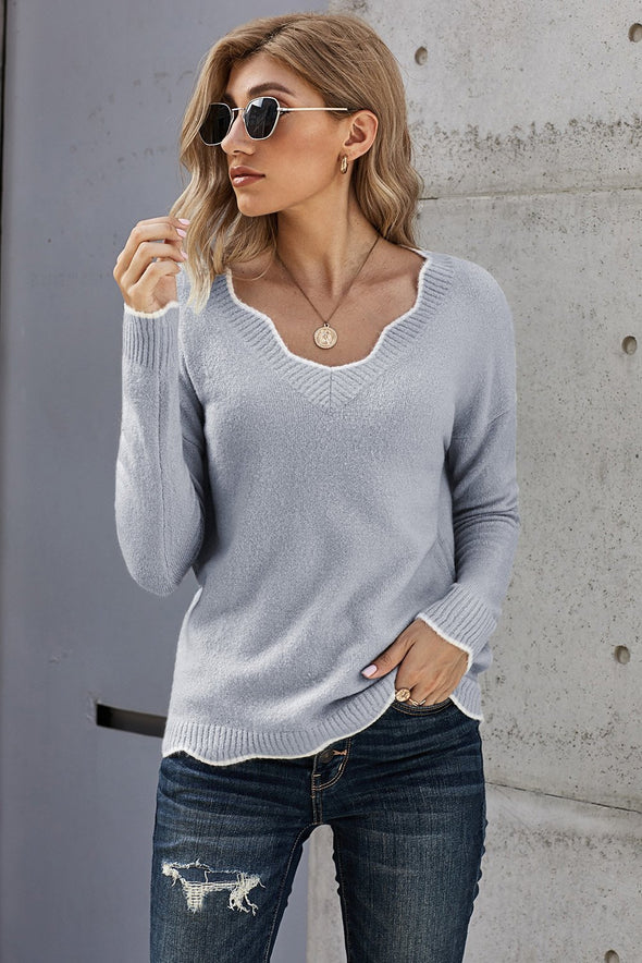 Gray Wavy V-neck Sweater
