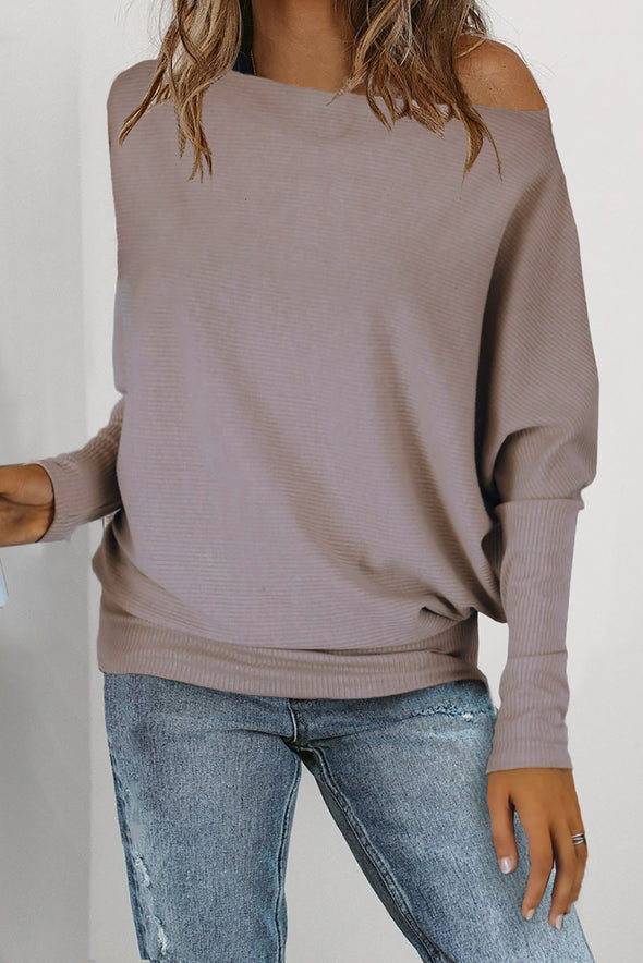Off Shoulder Ribbed Texture Raglan Long Sleeve Top