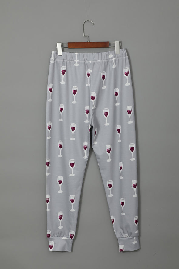 Glass Printed Button Top & Pants Loungewear