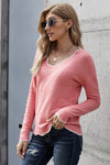 Pink Wavy V-neck Sweater