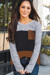 Accent Color Block Knit Long Sleeve Top