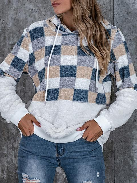 Plaid Print Drawstring Hooded Plush Sweatshirt