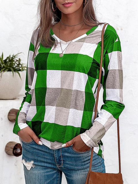 Plaid Print V-neck Cotton Linen Tops