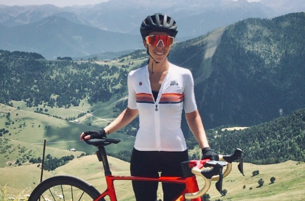 woman cycling in mountains