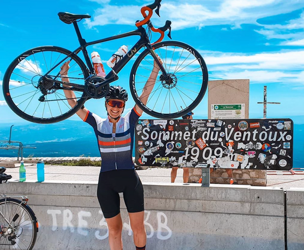 woman cycling Mont Ventoux