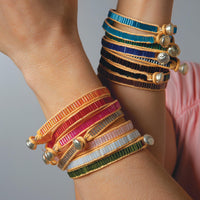 Color Bars Inline Bugle Bead Bracelets
