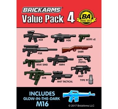 BrickArms Value Pack 4 - Includes Glow-In-Dark M16
