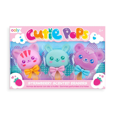 Cutie Pops Strawberry Scented Puzzle Erasers - Set of 3