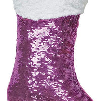 Mini Stocking Pink/Silver Reversible Sequin Pillow
