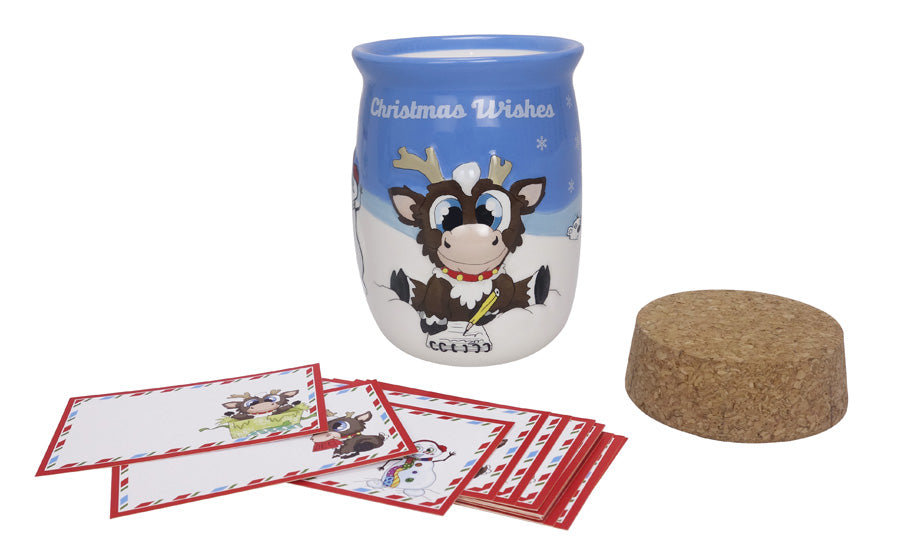 Reindeer In Here Ceramic Wishing Jar with 24 Wishing Cards