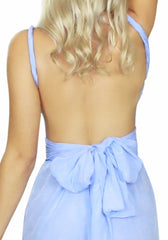 Pure silk playsuit by Australian designer Sisters The Label. Pastel baby cornflower blue mini dress Style what to wear camilla sass bide