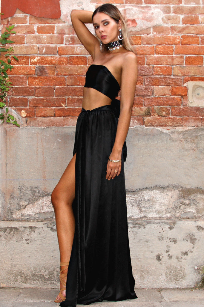 SATIN SILK NOIR - WRAP TWO PIECE GOWN