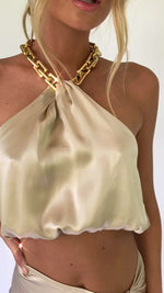 CLAUDIA TOP - OYSTER SILK