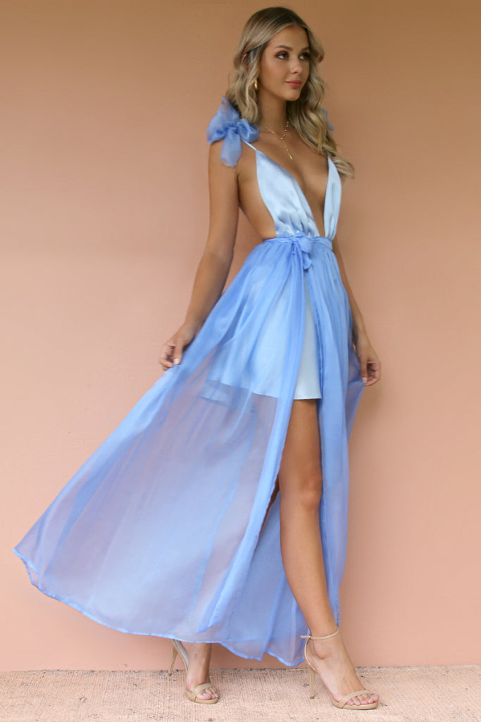 SATIN SILK FROSTED BLUE - ALEXIS GOWN
