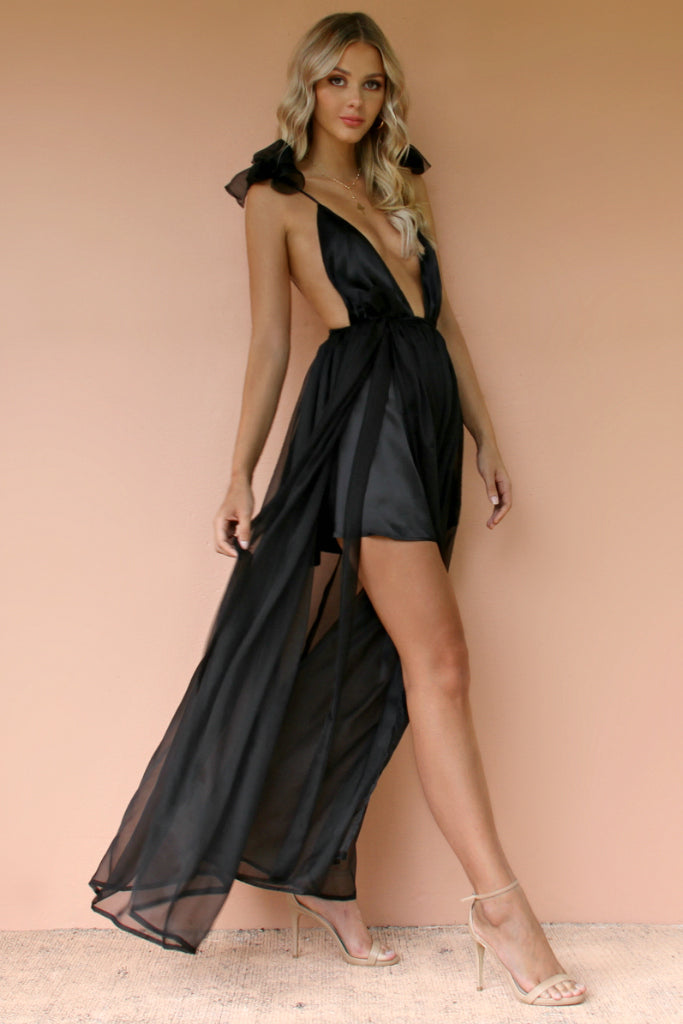 SATIN SILK NOIR - ALEXIS GOWN