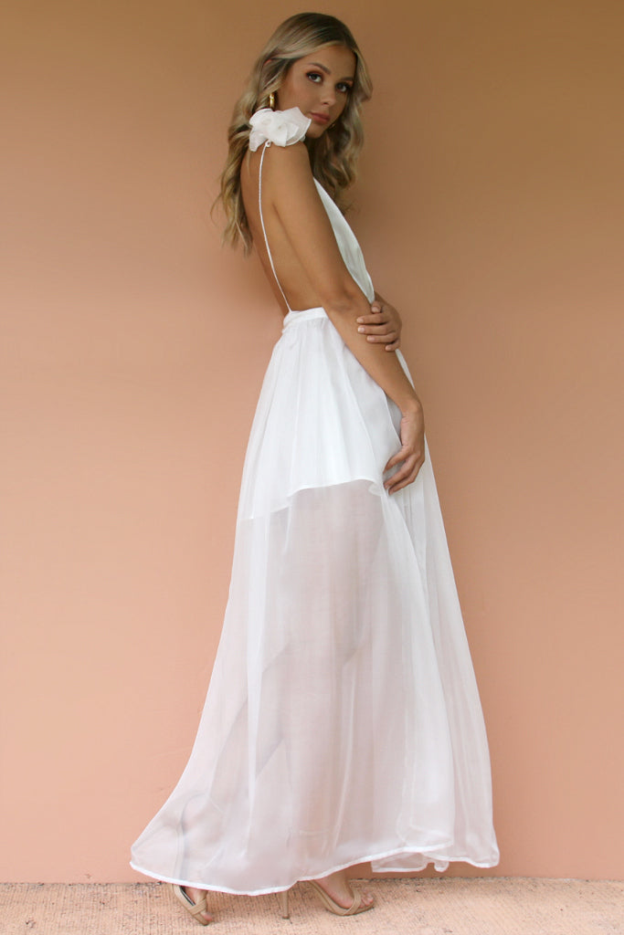 SATIN SILK PEARL - ALEXIS GOWN