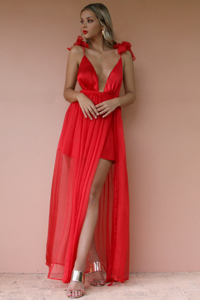 SATIN SILK ROUGE - ALEXIS GOWN