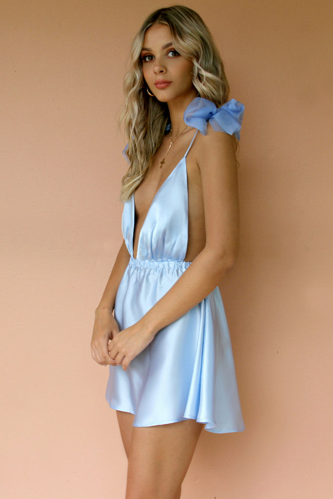 SATIN SILK FROSTED BLUE - ALEXIS MINI DRESS
