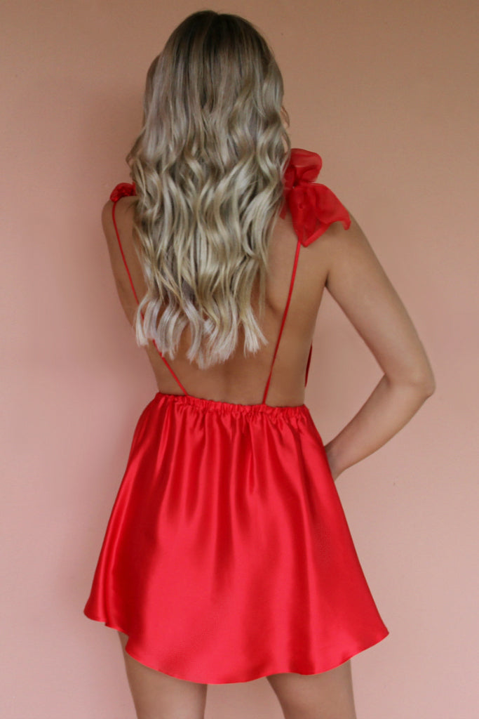 SATIN SILK ROUGE - ALEXIS MINI DRESS