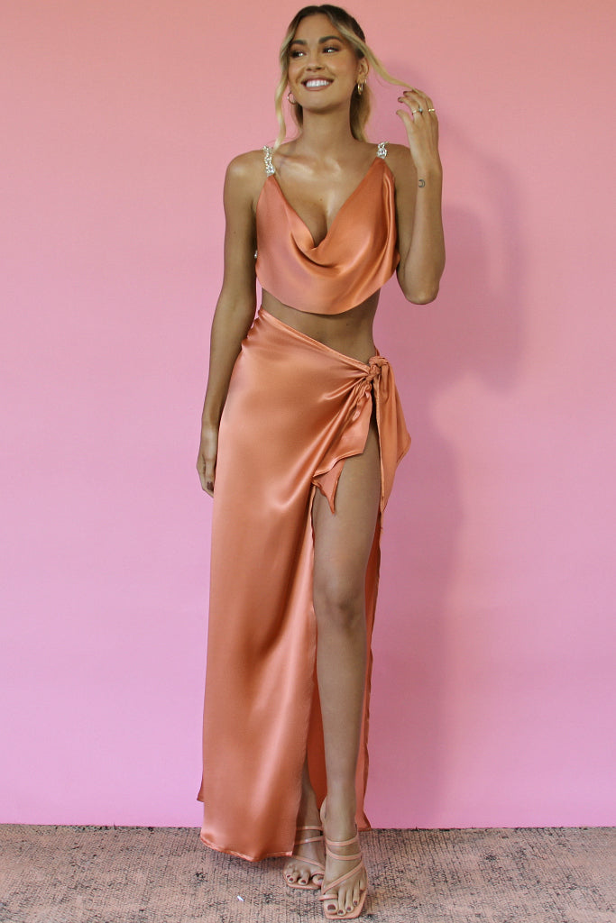 BABE GOWN SET - CORAL SILK