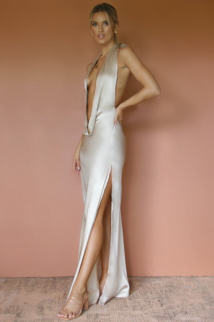 BELLA GOWN - OYSTER SILK