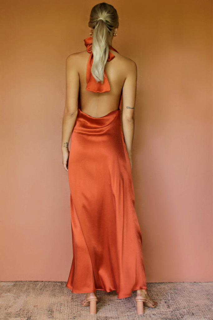 BELLA GOWN - RUST SILK
