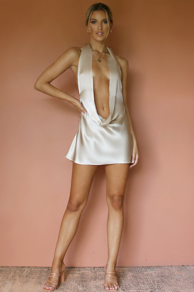 BELLA MINI DRESS - OYSTER SILK