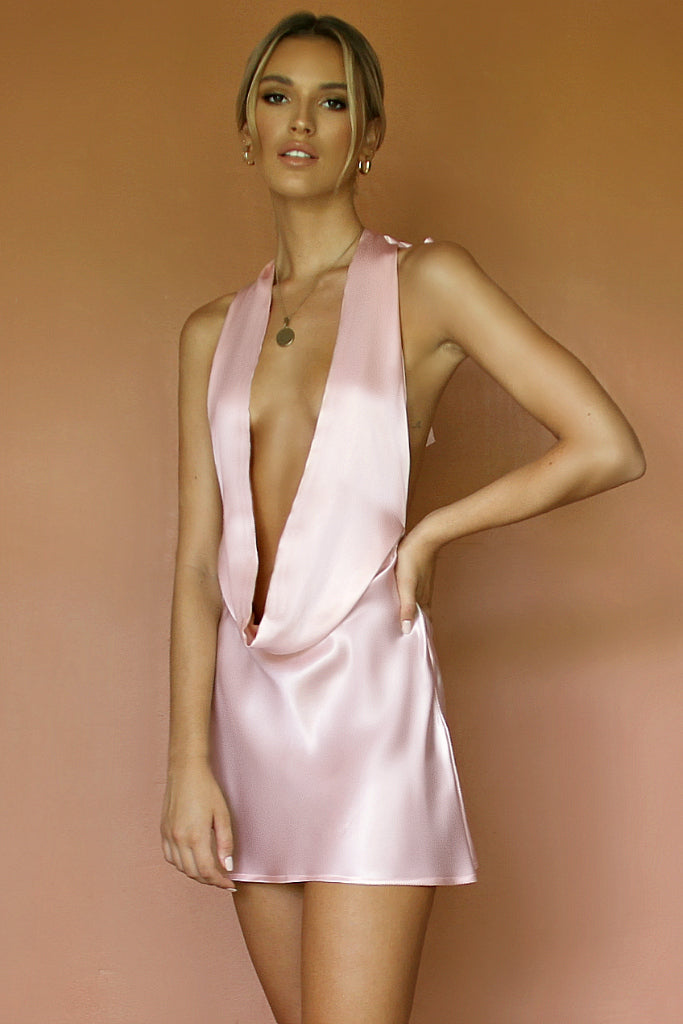 BELLA MINI DRESS - SOFT PINK SILK