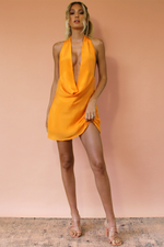 BELLA MINI DRESS - TANGERINE DREAM SILK