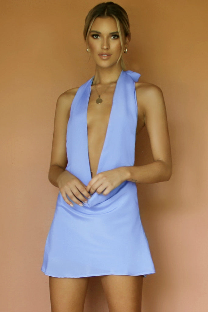 BELLA MINI DRESS - VIENNA SKY SILK