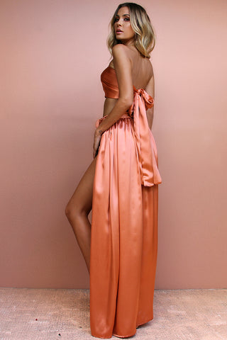 SATIN SILK CORAL - WRAP TWO PIECE GOWN