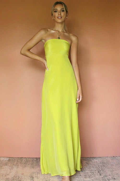 DAISY GOWN - CHARTREUSE SILK
